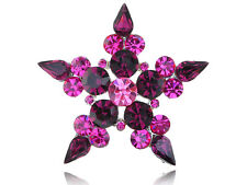 Symbol Necklace Clr Pendant Brooch Purple Crystal Rhinestone Five Point Star