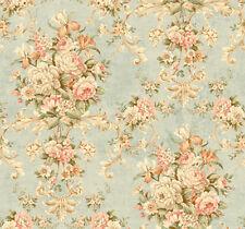 Tapete, Luxustapete, Blumenprint, Antik, Ornament, schilfgrün, rosé, Glanz, edel