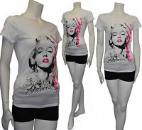 Plus Size Marilyn Monroe Forever T-Shirt w/Hot Pink Letter WHITE 1XL,2XL,3XL