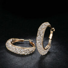 18k Gold Stardust Large Hoop Earrings made w/ Swarovski Crystal Bling Stone