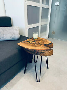 Live Edge Thick Solid Walnut Coffee Table Resin.