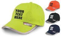 Personalised Hi Vis Baseball Cap Embroidered Custom Printed Workwear Hat Unisex