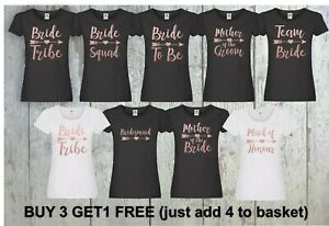 Hen Do Hen Party T Shirts Bride To Be Personalised Rose Gold Bride Squad Printed