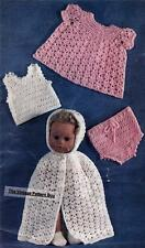 """CROCHETED DOLL CLOTHES 11"""" / 8ply or D.K. - COPY doll crochet pattern"""