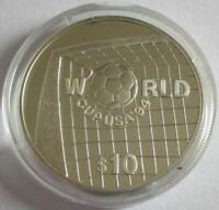 Belize 10 Dollars 1994 Fußball-WM in den USA Silber