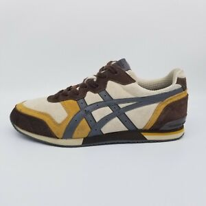ASICS Onitsuka Tiger Ultimate Tiger Mens Size 9 Brown/White/Yellow Suede Sneaker