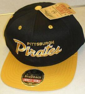 Pittsburgh Pirates Script logo black yellow American Needle Snapback hat Mlb New