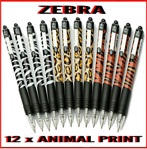 Zebra Z-Grip Funky Animal Print Ballpoint Pens - Assorted 12 Pack