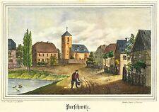 (PURSCHWITZ (KUBSCHÜTZ) - Dorfmitte mit Kirche - Lithografie 1840