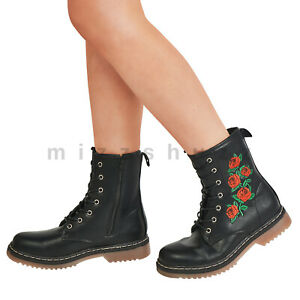 Women's Ladies Rose Embroidery Punk Combat Military Gothic Retro Lace Up Boots