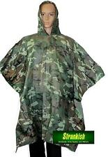 BRITISH /  US ARMY STYLE VINYL PONCHO SHELTER COVER IN WOODLAND CAMO