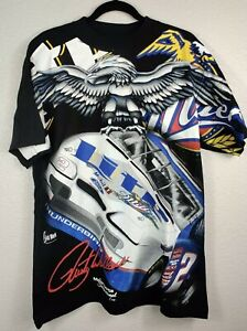Vintage Rusty Wallace Miller Lite NASCAR Skid Mark Allover Print T Shirt Large