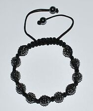 10mm Jet Black Pave Ball Shamballa Macrame Bracelet  AS131