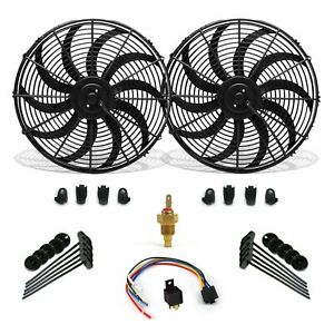"Super Cool Pack 16"" S Blade Fans Fixed Temp Switch Harness Bracket Additive"