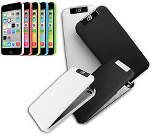 FLIP COVER COMPATIBLE POUR IPHONE 5 COQUILLE AIMANT SLIM RIGIDE BLANC NOIR