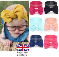 Baby Girls Large Bow Turban Headband Hair band Head Wrap Cute Kids Plain Stretch
