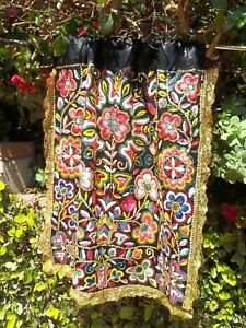 "Vintage India Hand Embroidery Metal Trim Drape Alter Cloth Sequin Rare 23x26"""