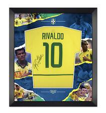 More details for rivaldo signed & framed brazil jersey 2002 world cup jersey aftal coa (d)