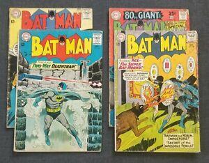 Silver Age Batman lot. #157, 158, 166, 198. Joker Cover. low-mid grade. DEAL!