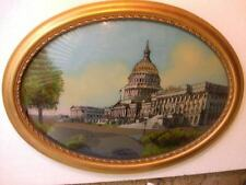 CAPITOL BUILDING WASHINGTON DC ANTIQUE PICTURE IN GOLD WOOD CURVED GLASS  FRAME