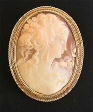 Large Shell Cameo Pendant Pin in 14k Gold Setting