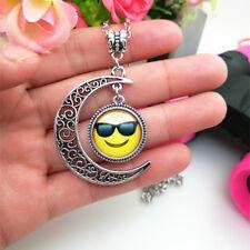 Emoji face glasses Emoticon moon Cabochon Glass chain pendant necklace*