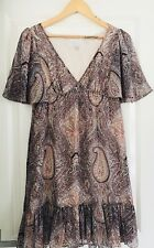 FOREVER NEW WOMENS DRESS LINED SIDE ZIP V NECK Pleated Knee Length SZ 8