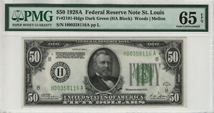 1928 A $50 FEDERAL RESERVE NOTE ST. LOUIS FR.2101-Hdgs PMG GEM UNC 65 EPQ (116A)