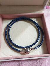 Genuine Silver S925 Ale Dark Blue Leather Pandora Moments Bracelet 38cm 19cm