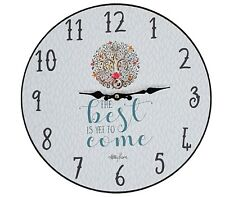 Tree of Life Wall Clock Wood Hanging Art Best is Yet to Come Home Décor *35 cm*
