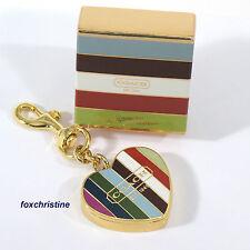 NWT COACH Legacy Stripe LipGloss Duo Keychain Fob Key Ring Bag Charm Gold Box