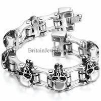 """Biker Men's Large Heavy Skull Stainless Steel Bracelet Motorcycle Chain Link 9"""""""