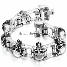Biker Men's Large Heavy Skull Stainless Steel Bracelet Motorcycle Chain Link 9""