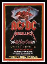 "Framed Vintage Style Rock 'n' Roll Poster ""AC/DC - METALLICA - MOTLEY CRUE;12x18"