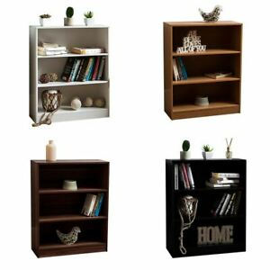 Cambridge 3 Tier Low Bookcase Display Shelving Storage Shelves Wood Unit Stand