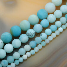 Natural Matte Blue Amazonite Round Gemstone Beads 15.5