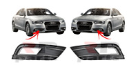 FOR AUDI A4 B8 11-16 NEW FRONT BUMPER FOGLIGHT GRILLE BLACK / CHROME PAIR SET