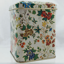 Vintage Daher Tin Decorated Ware Floral Gold Hinged Lid Made in England #11101