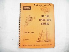 LINK-BELT SPEEDER HC 108 SERIES  OPERATORS  SERVICE MANUAL