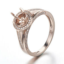 Round 6mm Cut Semi Mount Solid 10K Rose Gold Pave Diamonds Engagement Ring Gift