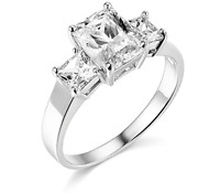 2.75 Ct Emerald Princess Cut Engagement Ring 3 Three Stone Solid 14K White Gold