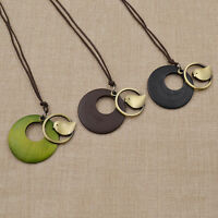 Fashion Women Pendant Little Metal Bird Wooden Round Shaped Traditional Necklace