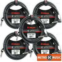 5-Pack Kirlin 10 ft Right-Angle Guitar Instrument Patch Cable Cord Free Tie