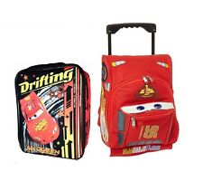 """Disney Pixar Cars 3 12"""" Small Rolling McQueen Luggage W/Lunch Bag Lunchbag"""