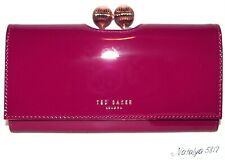 TED BAKER Bobble Matinee Purple Patent  Leather Flap Clutch Wallet NWT