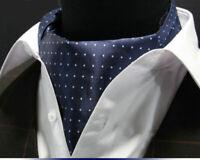 Mens Ascot Tie  Scarf Navy Blue Mini Polka Dot Cravat Silk Woven A55