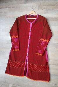 Gudrun Sjoden Sweden Floral Boho Hippie Red Cardigan Sweater Knit Dress L
