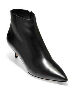COLE HAAN Vesta Black Leather Ankle Booties Kitten Heel Gloss Leather Womens 6