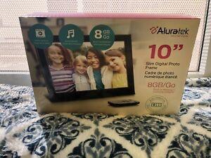 """ALURATEK 10"""" SLIM DIGITAL PHOTO FRAME BLACK 8GB/Go BRAND NEW - Never Used"""
