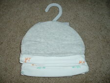 Carters Baby Boy Hats Size 0-3 months 3 mos NWT Gray Animals Beanie Cap 3pk $24